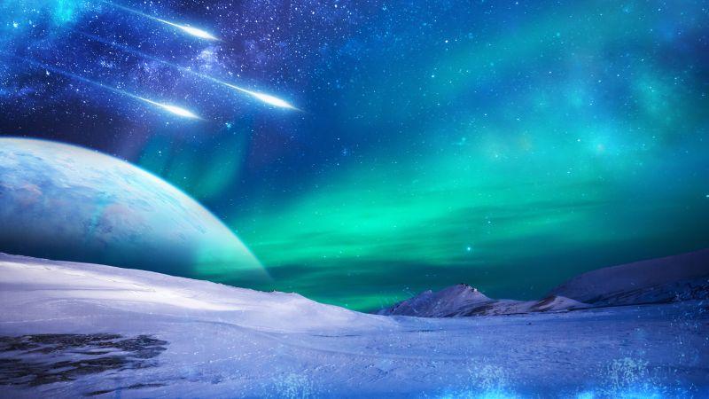 Northern Lights, Aurora sky, Iceland, Frozen, Winter, Cold, 5K, Wallpaper