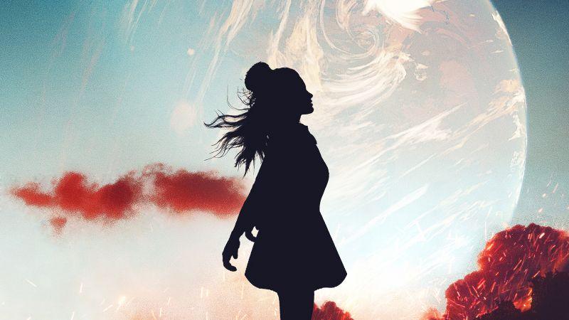 Alone, Girl, Silhouette, Mood, Planet, Dream, Wallpaper
