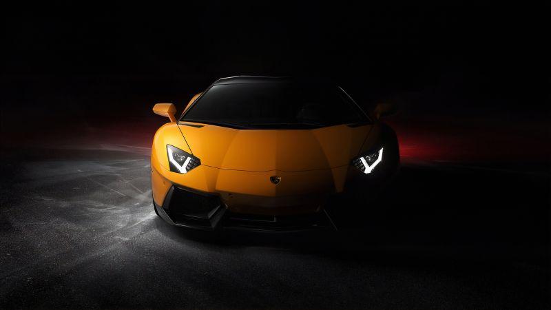 Lamborghini Aventador, Sports cars, Black background, Wallpaper
