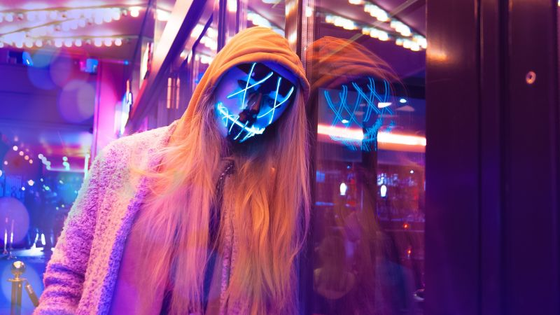 LED mask, Neon, Pink, Anonymous, Woman, Aesthetic, Wallpaper