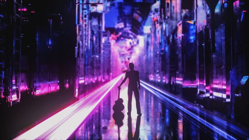 Neon, Guitar, Musician, Silhouette, Cyberpunk, Future City, Aesthetic, Wallpaper