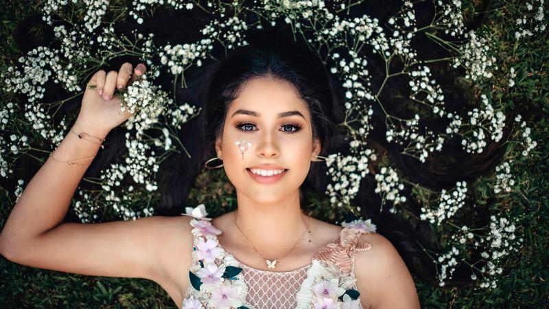 Smiling girl, Beautiful girl, White flowers, Wallpaper
