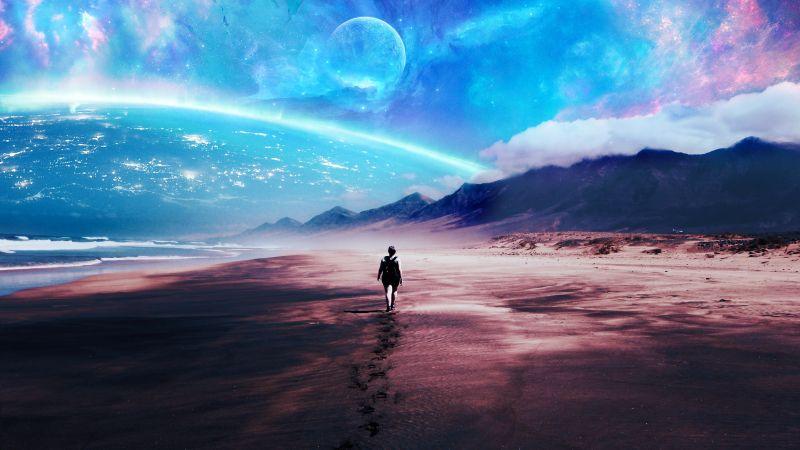 Alone, Beach, Lost, Exploration, Travel, Surreal, Wallpaper