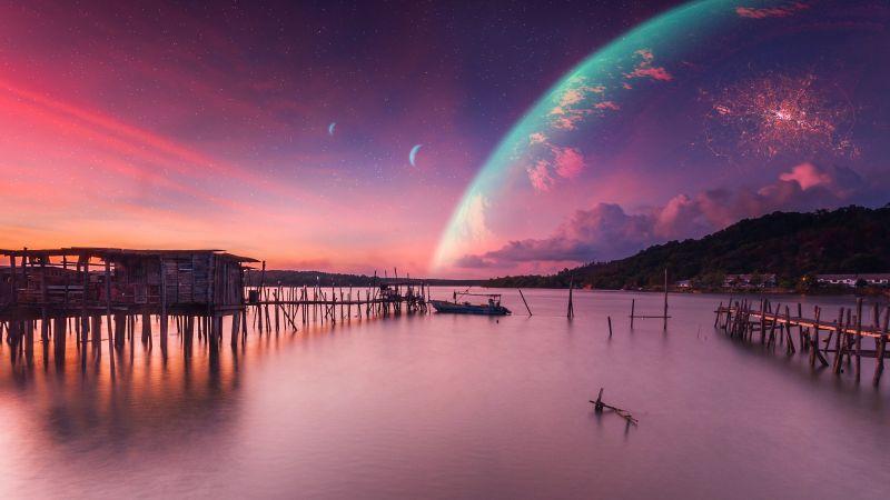 Dawn, Landscape, Sunset, Planets, Peaceful, Calm, Surreal, Wallpaper
