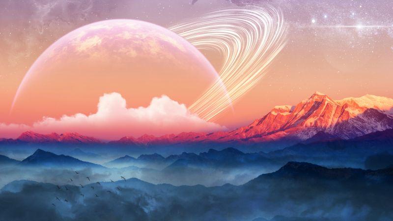 Mountains, Planet, Sunrise, Surreal, Foggy, 5K, Wallpaper