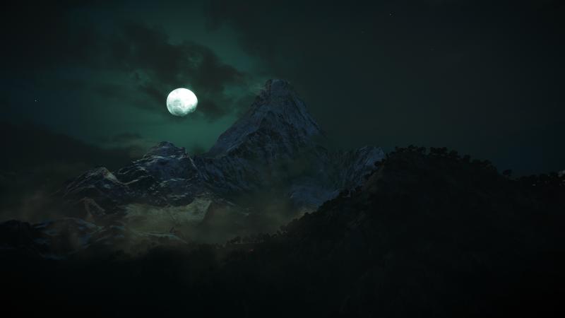 Moon, Mountains, Night, Dark, Forest, Wallpaper