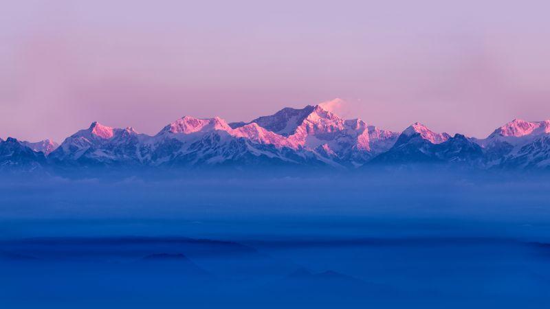 Himalayas, Mountain range, Sunrise, Winter, Above clouds, Mountains, Stock, Wallpaper