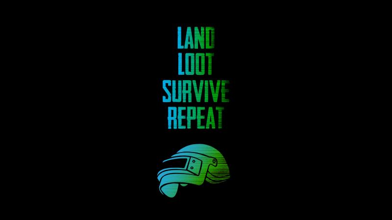 PUBG, Survive, Loot, Repeat, Black background, PUBG helmet, Wallpaper