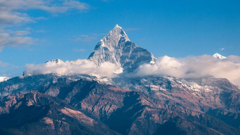 Himalayas, Mountain Peak, Clouds, Mountains, Cold, Daylight, 5K, Wallpaper