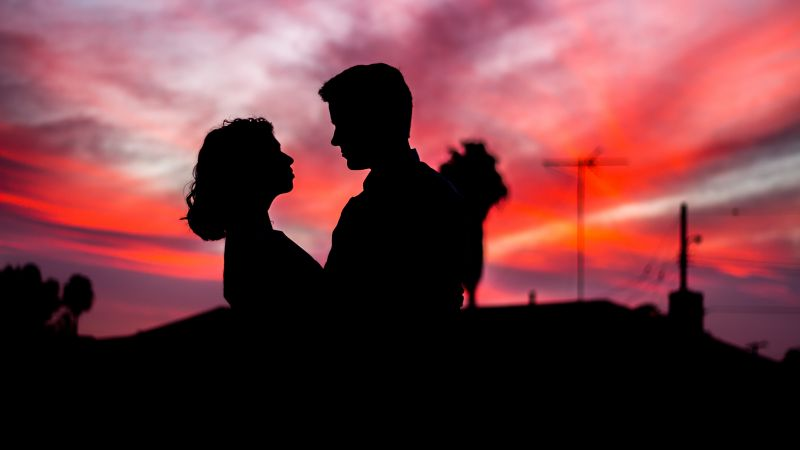 Couple, Silhouette, Sunset, Man, Woman, Romantic, 5K, Wallpaper