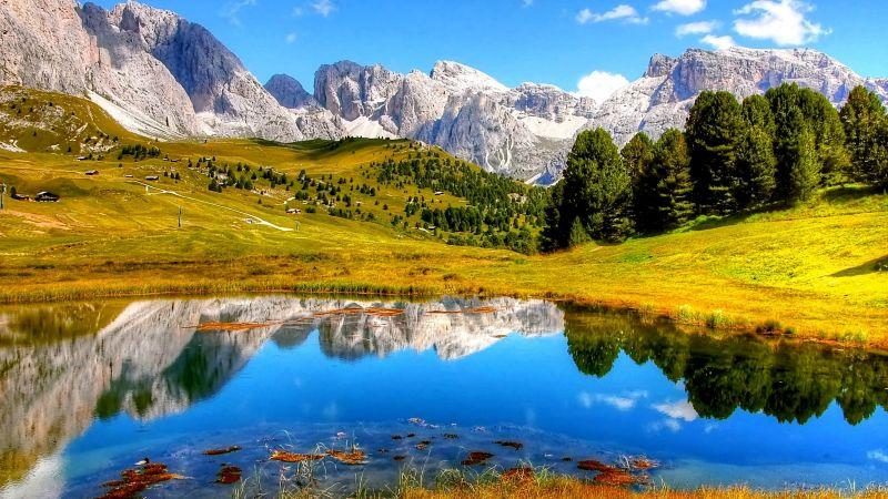 Mountains, Lake, Sunny day, Summer, Landscape, Scenic, Reflection, Scenery, Daylight, Wallpaper