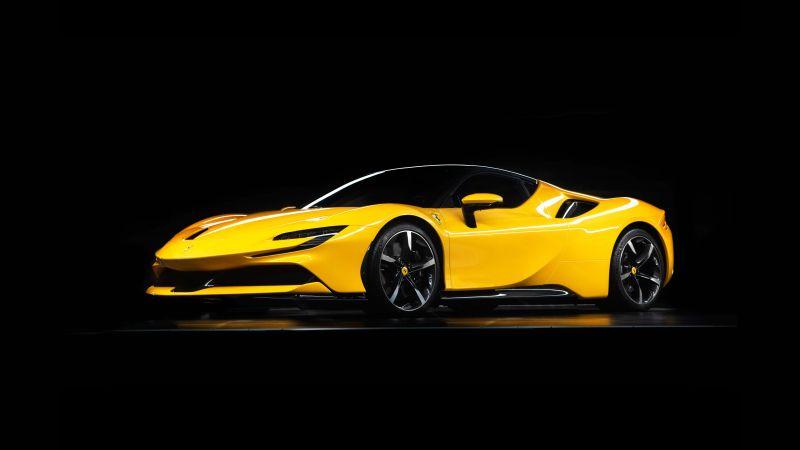 Ferrari SF90 Stradale, Hybrid cars, Sports cars, Black background, 5K, 2020, Wallpaper