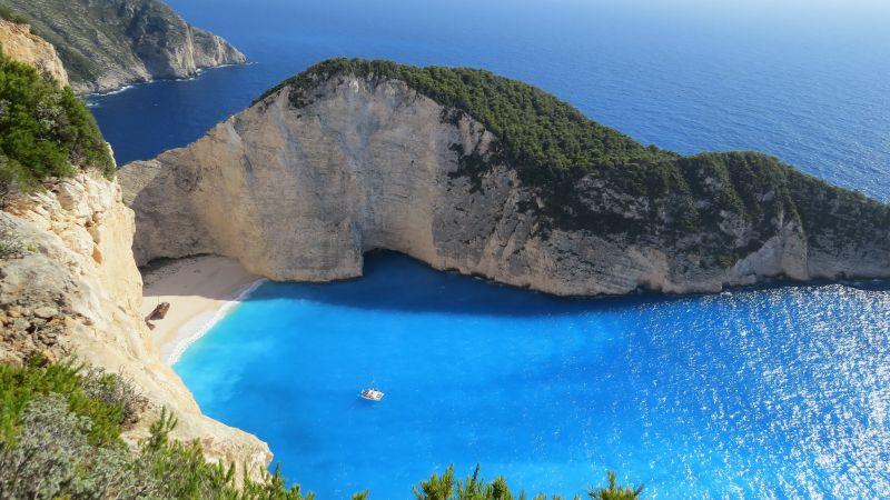 Zakynthos, Island, Navagio Beach, Shipwreck Beach, Ionian Islands, Greece, Cliff, Coast, Blue sea, Wallpaper