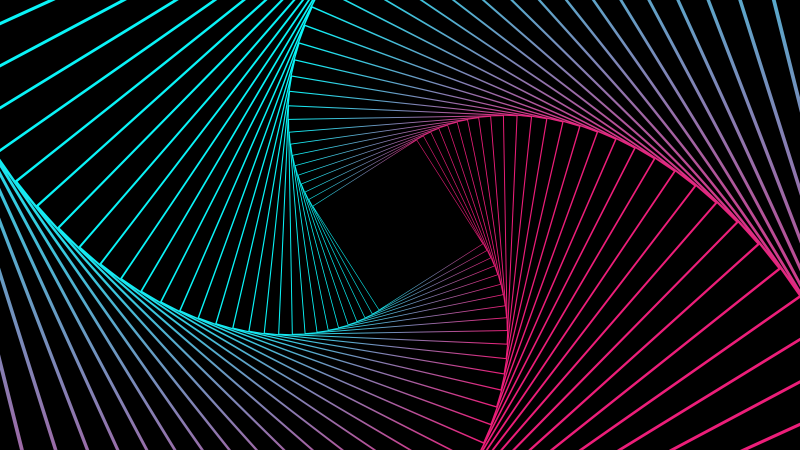 Geometric, Pattern, Spiral, Neon, Gradient, Black background, 5K, 8K, Wallpaper