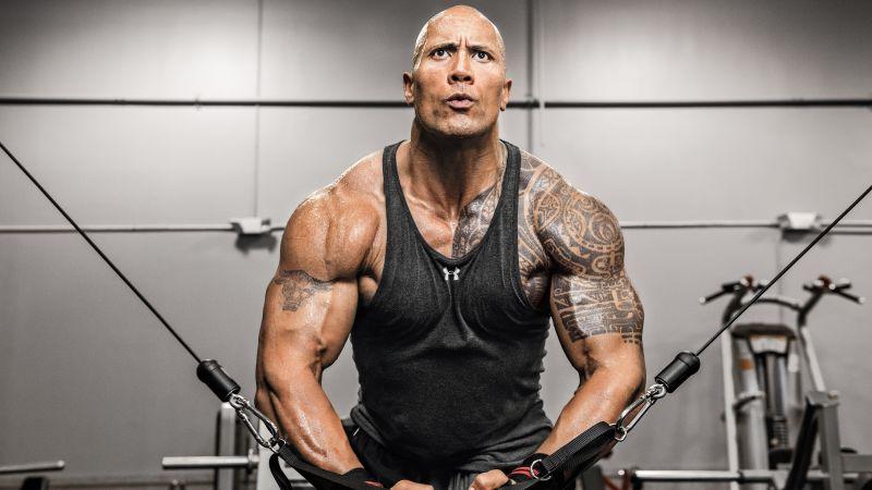 Dwayne Johnson, Weightlifting, Workout, Gym, 5K, 8K, Wallpaper