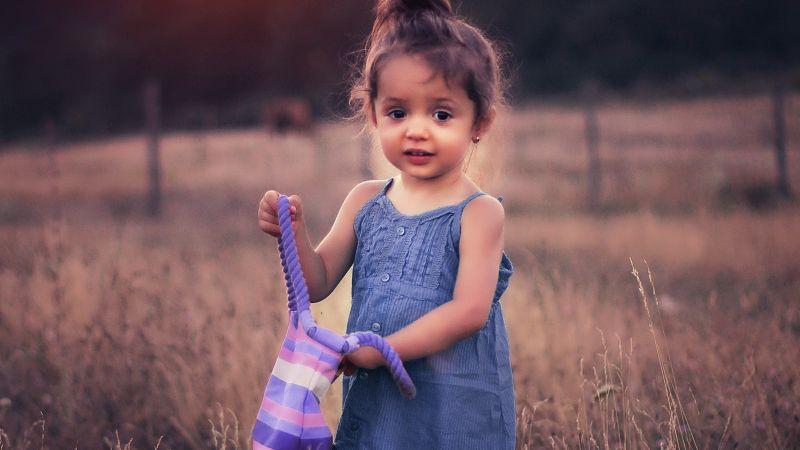 Cute Girl, Cute kid, Adorable, Field, Sunset, Wallpaper