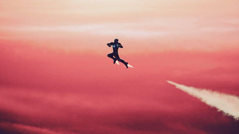 Iron Man, Red Sky, Minimal art, Wallpaper