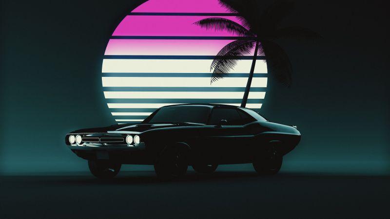Muscle car, Retro, Vintage car, Sunset, Neon, 5K, Dark background, Wallpaper