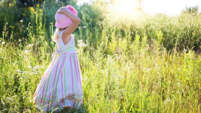 Girl, Child, Blossom, Summer, Daylight, Girly, Green, Landscape, Mood, Happiness, 5K, Wallpaper