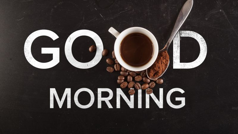Good Morning, Typography, Coffee, Dark background, Coffee beans, Coffee cup, 5K, Wallpaper