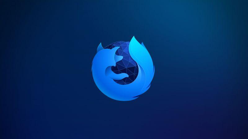Firefox, Blue background, 5K, 8K, Wallpaper