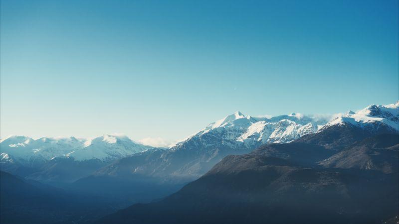 Mountains, Winter, Daytime, Glacier, Blue, Mountain range, 5K, Wallpaper