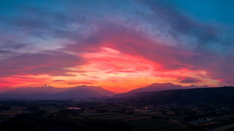 Sunset, Mountains, Countryside, Twilight, Afterglow, Red Sky, 5K, 8K, Wallpaper