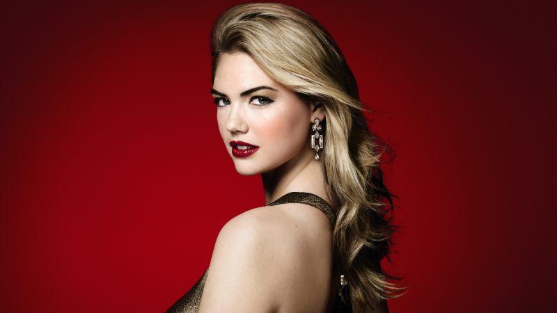 Kate Upton, American model, Portrait, Beautiful, 5K, 8K, Red background, Wallpaper