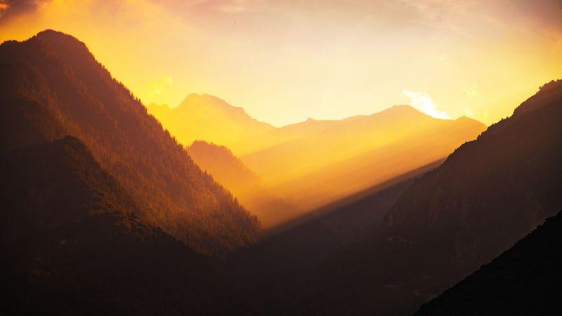 Valley, Golden hour, Sunlight, Mountains, Landscape, Italy, Morning light, 5K, Wallpaper