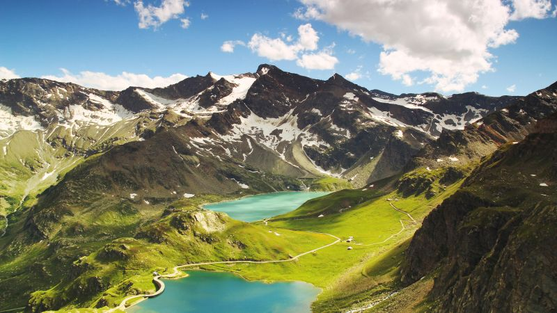 Ceresole Reale, Summer, Mountains, Lake, Sunny day, Landscape, Italy, 5K, Wallpaper