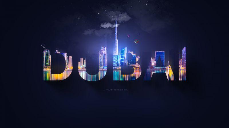 Dubai, Typography, Digital Art, Wallpaper