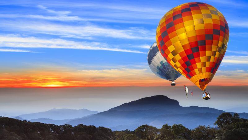 Hot air balloons, Landscape, Hills, Sunrise, Morning, Foggy, 5K, Wallpaper