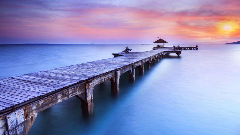 Wooden pier, Sunrise, Morning, Foggy, Daylight, 5K, Wallpaper