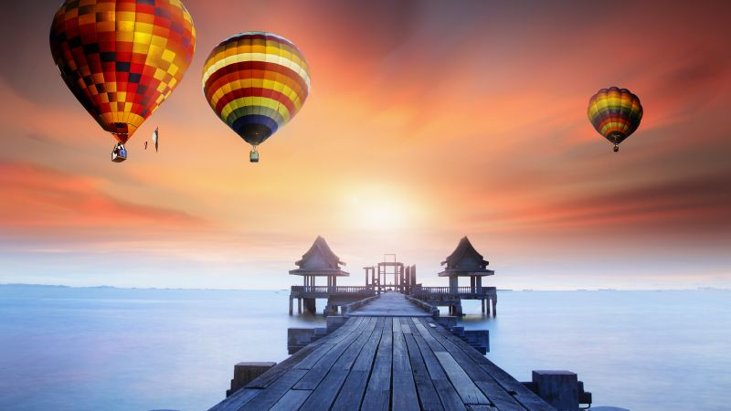 Wooden pier, Hot air balloons, Sunrise, Daylight, Foggy, Colorful, 5K, Wallpaper