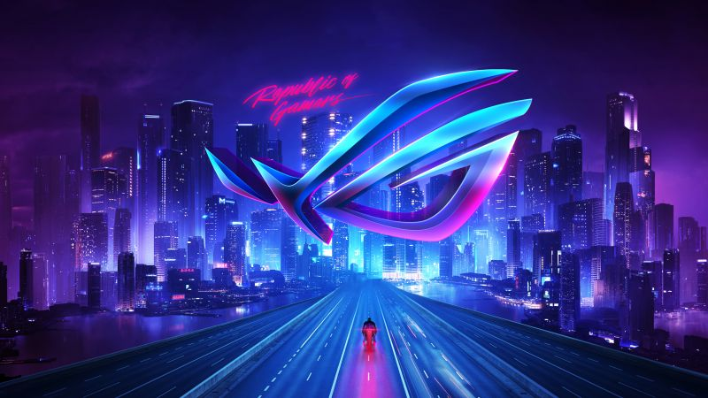 Republic of Gamers, ASUS ROG, Cityscape, Neon, Wallpaper