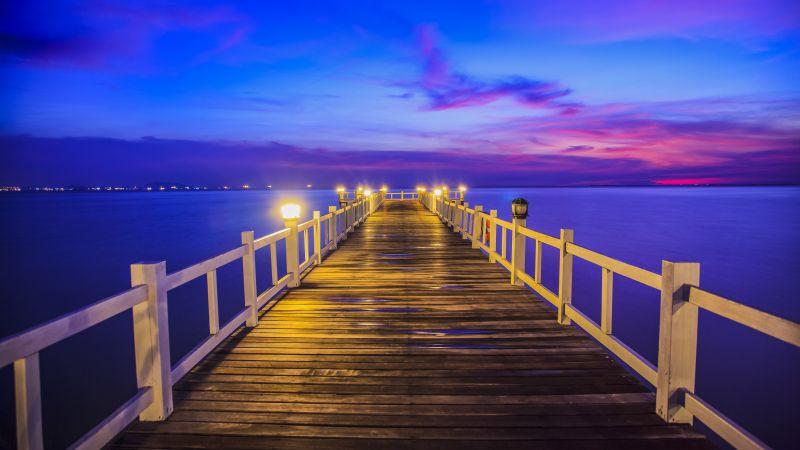 Wooden pier, Bridge, Sunset, Horizon, Resort, Dawn, Vacation, Holidays, Phuket, Thailand, 5K, Wallpaper