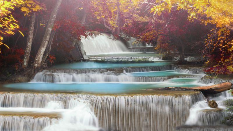 Erawan Falls, Waterfall, Forest, Autumn, Thailand, Aesthetic, 5K, Wallpaper