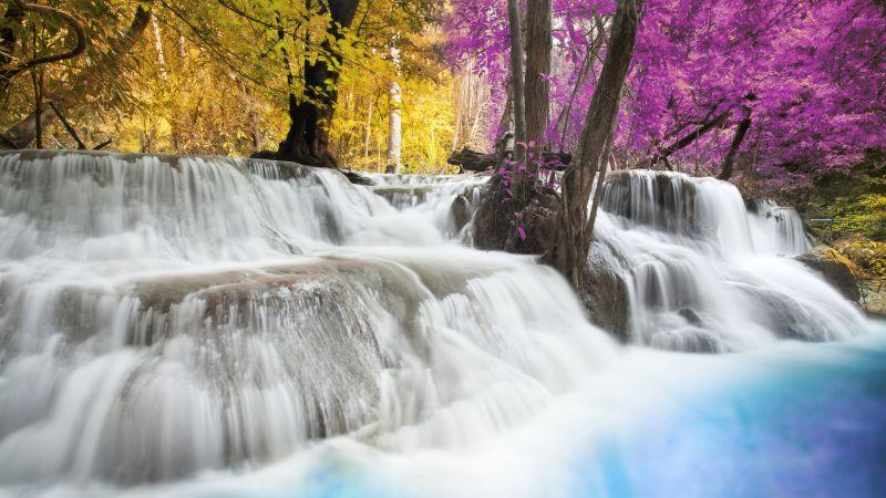 Erawan Falls, Waterfall, Forest, Spring, Autumn, Thailand, 5K, Wallpaper