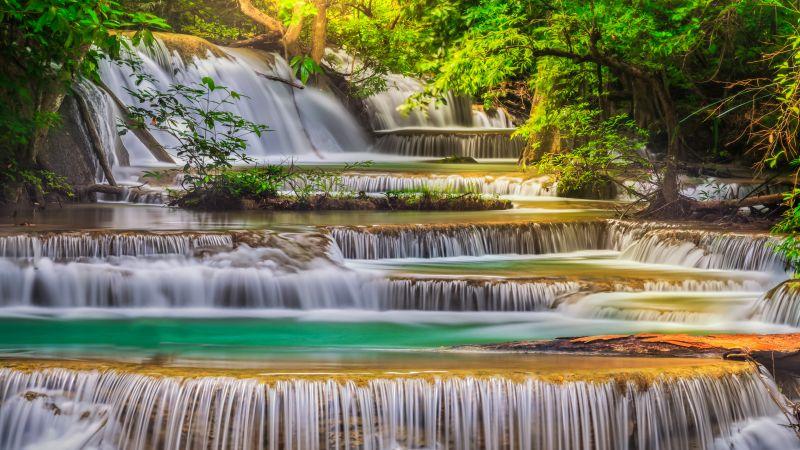 Erawan Falls, Waterfall, Forest, Spring, Rainforest, Thailand, Scenic, 5K, Wallpaper