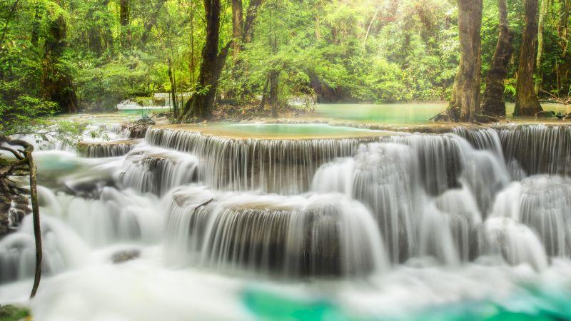 Erawan Falls, Waterfall, Forest, Spring, Rainforest, Thailand, 5K, Wallpaper