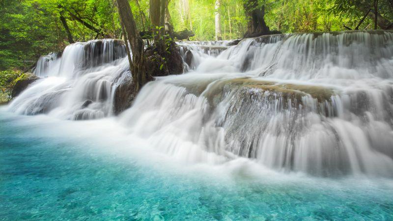 Erawan Falls, Waterfall, Forest, Spring, Thailand, 5K, Wallpaper