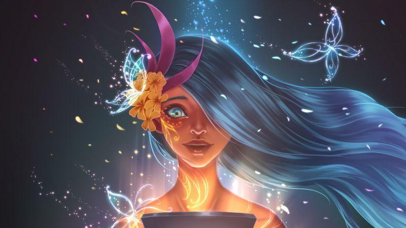 Magic girl, Angel, Girly, Wallpaper