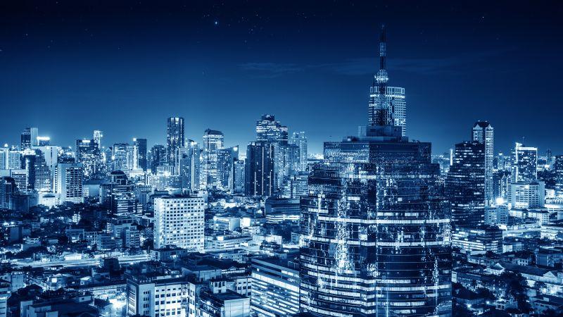 Bangkok, Cityscape, City lights, Night, Metropolitan, Blue, Buildings, Skyscraper, Thailand, 5K, Wallpaper