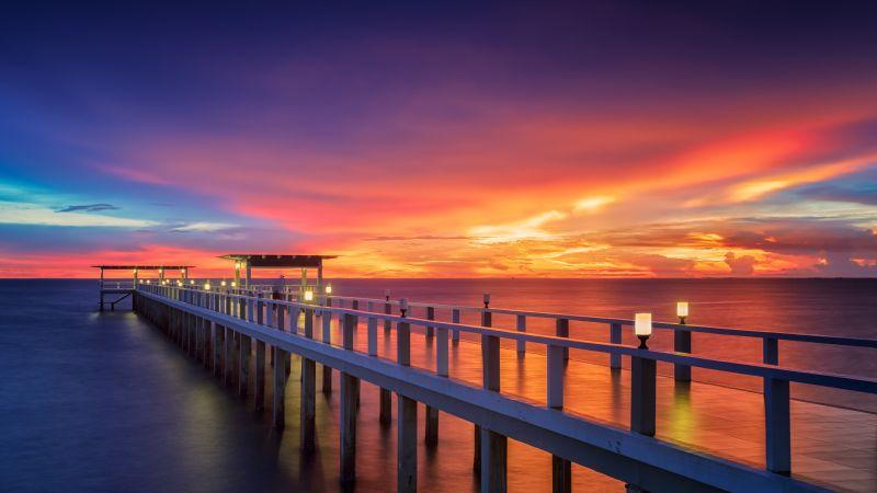 Wooden pier, Bridge, Sunset, Horizon, Resort, Dawn, Vacation, Sea, Holidays, Phuket, Thailand, Aesthetic, 5K, Wallpaper