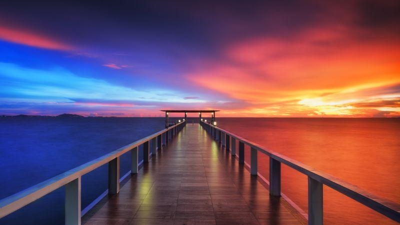 Wooden pier, Bridge, Sunset, Horizon, Resort, Dawn, Vacation, Holidays, Phuket, Thailand, Aesthetic, 5K, Wallpaper