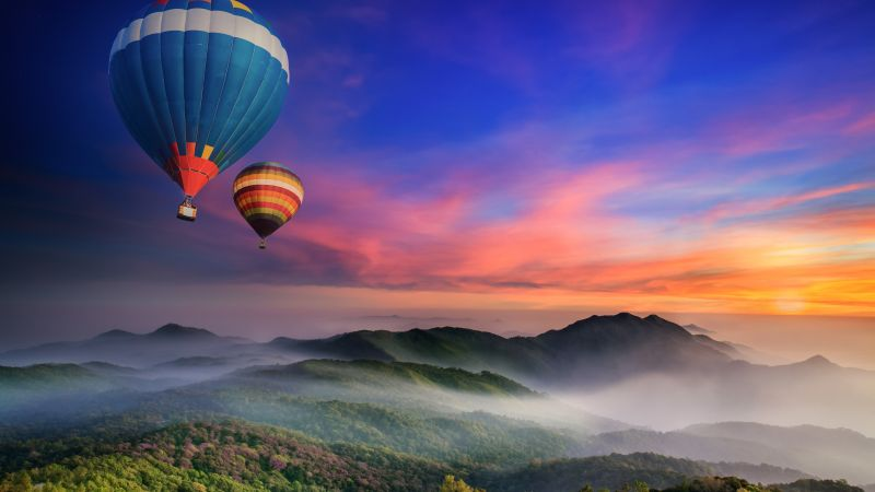 Hot air balloons, Doi Inthanon National Park, Sunrise, Dawn, Hills, Colorful, Foggy, Thailand, Aesthetic, 5K, Wallpaper