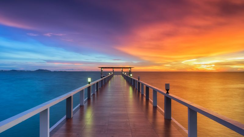 Wooden pier, Sunset, Horizon, Resort, Dawn, Dusk, Vacation, Holidays, Phuket, Thailand, Aesthetic, 5K, Wallpaper