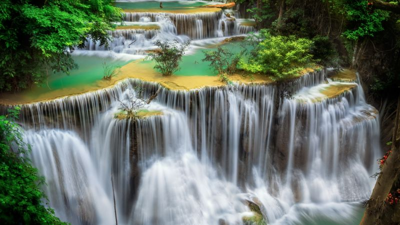 Huai Mae Khamin Waterfall, Tourist attraction, Rainforest, Spring, Thailand, 5K, Wallpaper