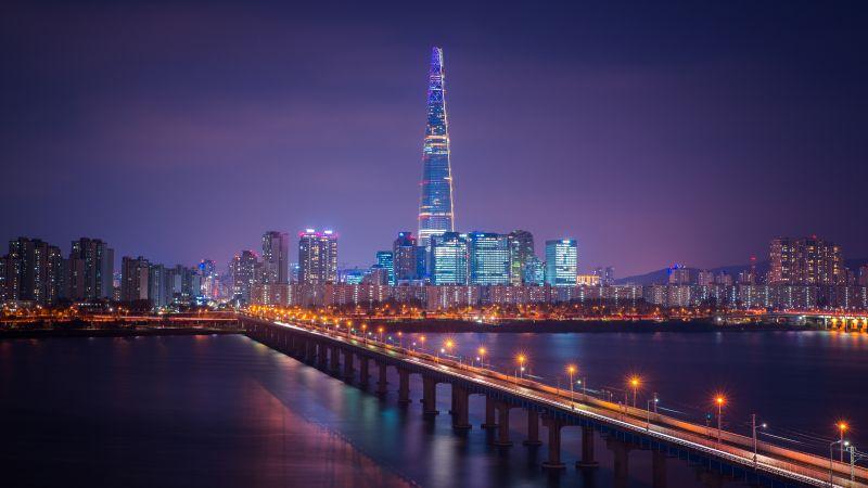 Lotte Tower, Seoul, Cityscape, Bridge, Night, City lights, South Korea, Aesthetic, 5K, Wallpaper