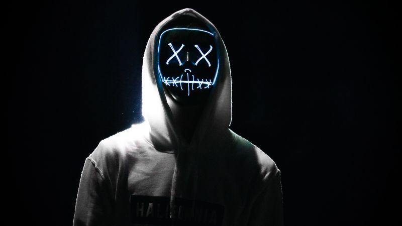 Man, LED mask, Dope, Night, Anonymous, Hoodie, AMOLED, Black background, 5K, Wallpaper